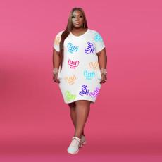 Plus Size Pink Letter Print Short Sleeve Midi Dress XMF-058