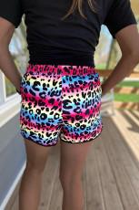 Casual Loose Leopard Print Mid Waist Shorts FSL-093
