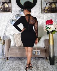 Black Mesh Patchwork Long Sleeve Mini Dress HTF-6067