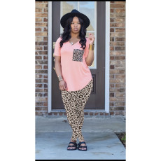 Plus Size Leopard V Neck Short Sleeve 2 Piece Pant Sets ABF-6666