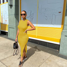 Solid Sleeveless Split Midi Dress WSM-2012