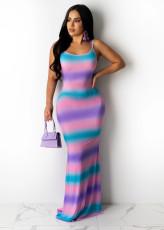 Gradient Striped Straps Backless Maxi Dress YM-9290