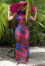 Sexy Mesh Printed See Through Maxi Dress JPF-1035