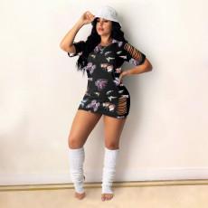 Butterfly Print Hollow Short Sleeve Mini Dress AWN-5210