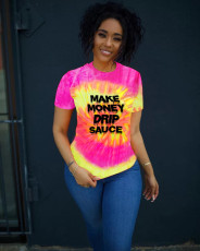 Tie-dye Letter Print Casual Summer Short Sleeve T-Shirts QZX-6208