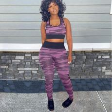 Camo Print Tank Top And Pants 2 Piece Jogger Sets MEM-8355