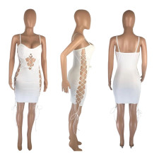 White Sexy Spaghetti Strap Hollow Bandage Mini Dress MNSF-8207