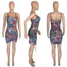 Sexy Print Spaghetti Strap Mini Dress MNSF-8237