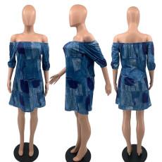 Sexy Printed Slash Neck Half Sleeve Loose Mini Dress YAOF-8028