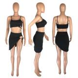Sexy Strap Top Irregular Short Skirt Two Piece Sets MNSF-8238
