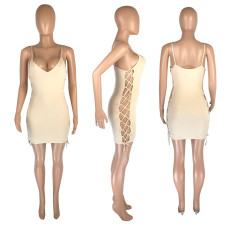 Sexy Spaghetti Strap Hollow Bandage Mini Dress MNSF-8216