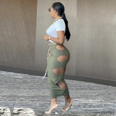 Sexy Short Sleeve Crop Top Hole Long Skirt Sets LQ-026