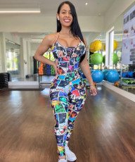 Sexy Printed Backless Cross Strap Jumpsuit LM-8236