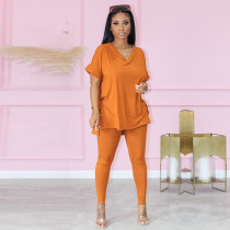 Solid Short Sleeve Split Top And Pants 2 Piece Suits DSF-8020