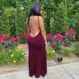 Sexy Backless Spaghetti Strap Maxi Dress YUF-9071