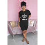 Letter Print T Shirt And Shorts 2 Piece Sets WAF-7183