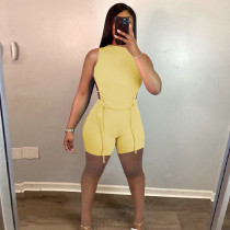 Solid Backless Sleeveless Two Piece Shorts Set HHF-9080