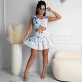 Ink Jet Print Sleeveless Pleated Mini Skirt 2 Piece Sets YMF-8062-1