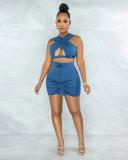 Sexy Hollow Sleeveless Crop Top Mini Skirt Sets APLF-5053