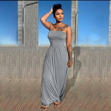 Solid Off Shoulder Strapless Maxi Dress OMY-0020