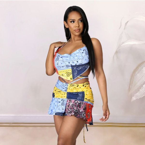 Sexy Printed Bellyband Top Mini Skirts 2 Piece Sets Without Headscarf YN-1079