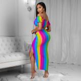 Rainbow Print Crop Top High Split Skirt 2 Piece Sets YN-1090