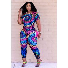 Plus Size Tie Dye Short Sleeve 2 Piece Sets DDF-8099