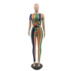 Colorful Striped Short Sleeve 2 Piece Pant Sets MIF-9059