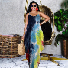 Tie Dye Print Spaghetti Srap Maxi Dress GHF-037