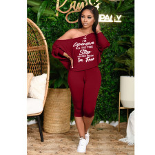 Plus Size Letter Print Long Sleeve Capri Pants Set YFS-3714