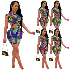 Sexy Printed Sleeveless Mini Skirt 2 Piece Sets SZF-8062
