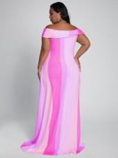 Plus Size Sexy Striped Slash Neck Maxi Dress YFS-3707