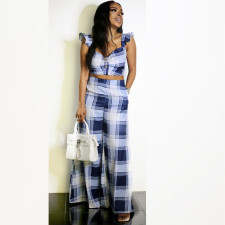 Sexy Plaid Crop Top Wide Leg Pants 2 Piece Sets ZNF-9066