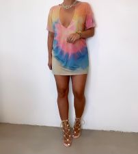 Sexy Tie-dye Low-cut Mini Dress MK-3055
