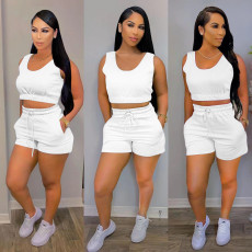 Solid Color Sports Casual Vest Shorts Two Piece Sets MTY-6527