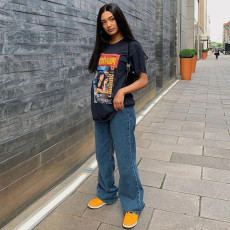 Casual Print Shoer Sleeve O Neck T Shirt GLF-7020