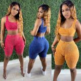 Solid Color Tight Vest Shorts Casual Sports Two Piece Sets APLF-5056