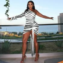Sexy Striped One Shoulder Long Sleeve Mini Dress YHDF-6023