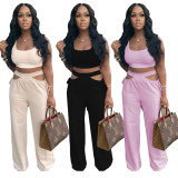 Sexy Solid Sleeveless Two Piece Pant Sets NLF-8058