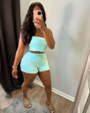Sexy Solid Tube Top And Split Shorts 2 Piece Sets NLF-8063