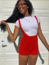 Casual T Shirt Top+Strap Shorts 2 Piece Sets QZX-6212