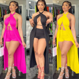 Sexy Solid Halter Long Robe+Short Two Piece Sets ATDF-5128