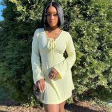 Solid Long Sleeve Mini Dress XINF-2023
