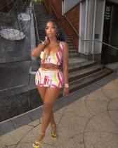 Sexy Printed Sleeveless Mini Skirt Two Piece Sets MNSF-8251