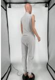 Solid Loose V Neck Sleeveless Pocket Jumpsuit GS-2037