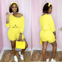 Casual Solid 3/4 Sleeves Two Piece Shorts Set DSF-88028