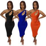 Sexy Solid One Shoulder Sleeveless Midi Dress ATDF-5130