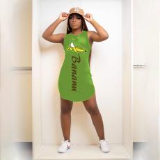 Banana Print Sleeveless Mini Dress HBF-4003