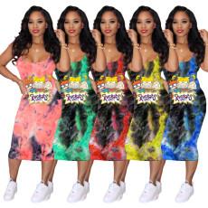 Tie Dye Cartoon Print Sleeveless Midi Dress MNKF-8001