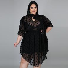 Plus Size Sexy Polka Dot Mesh See Though Midi Dress Without Underwear CYA-1582